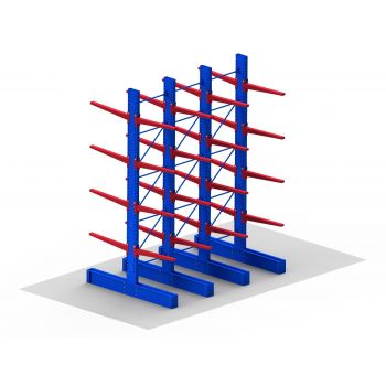 A Cantilever Racking Set for storing irregular, awkward and long bulk items such as steel, timber, plasterboard, aluminium and oversized pallets.