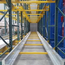 Shuttle Racking is used storing pallets on rails in a high density warehouse using a shuttle cart to transport pallets in and out of the shuttle racking system.