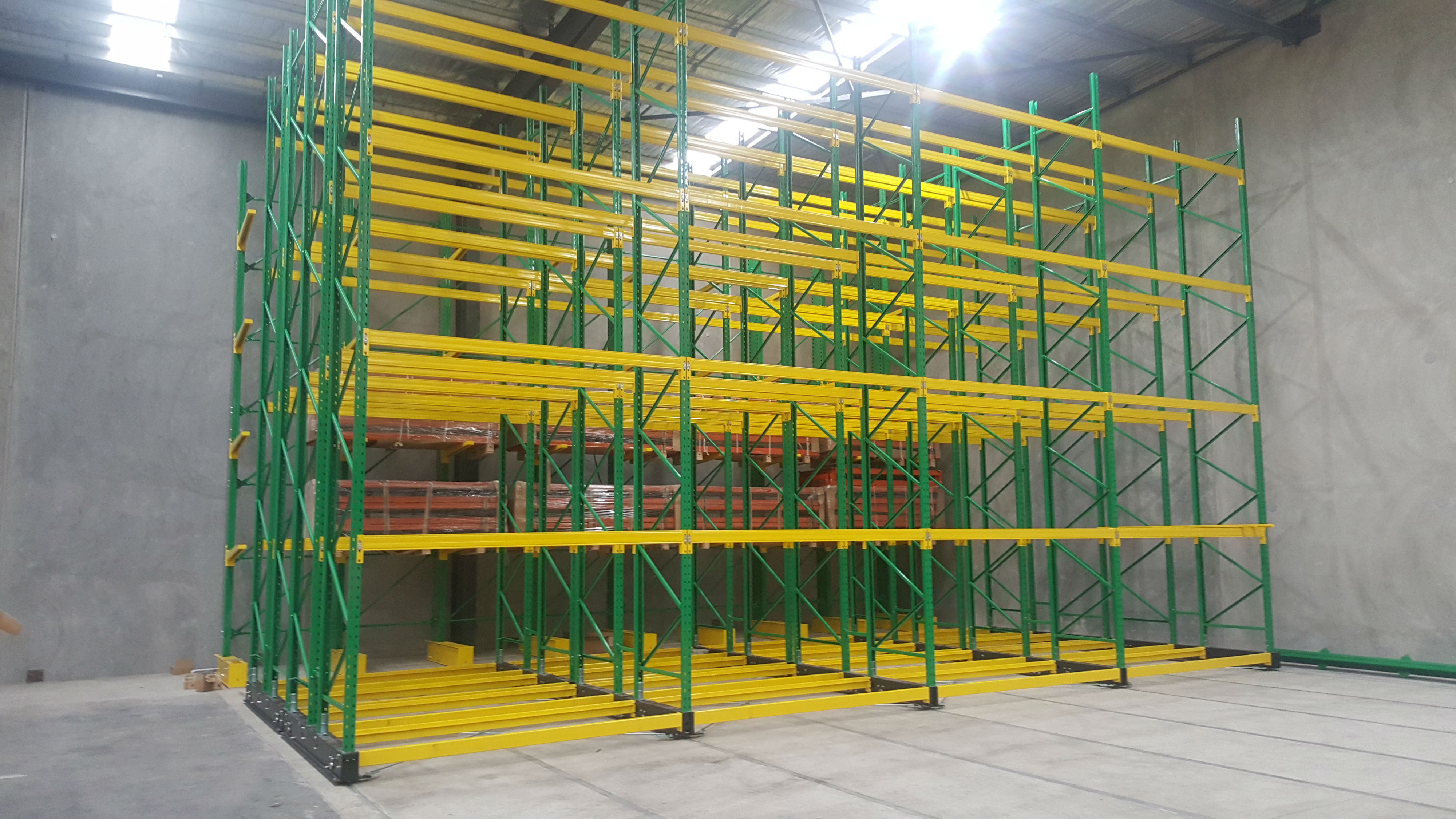 five layers green and yellow goods shelf