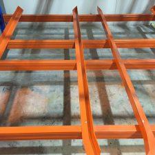 orange bottom plat of goods shelf