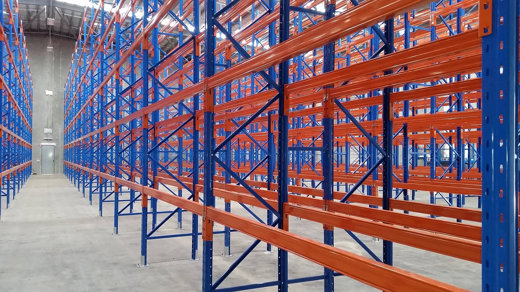 empty red and blue goods warehouse shelf