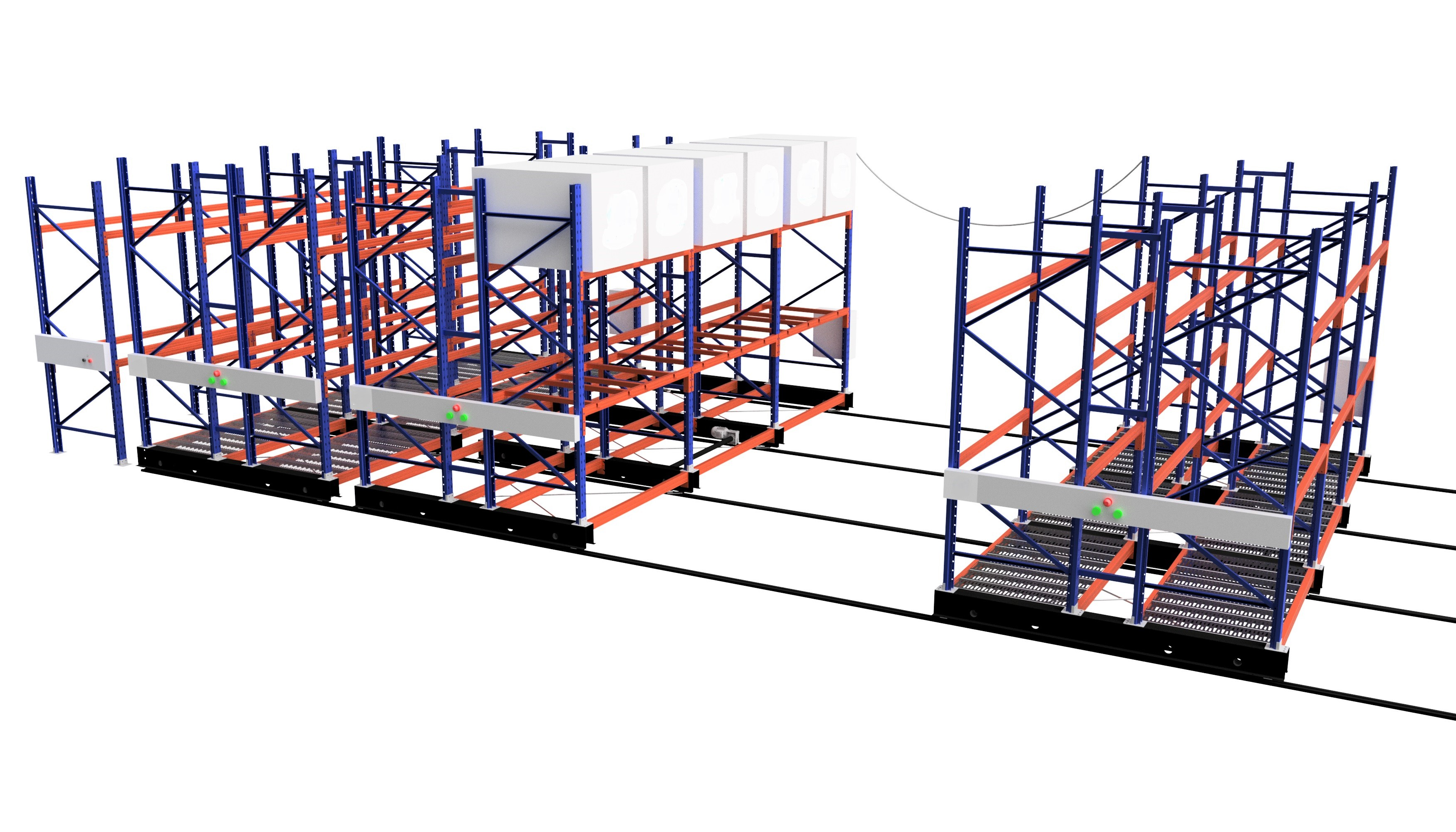 simulation picture of blue and orange goods shelf