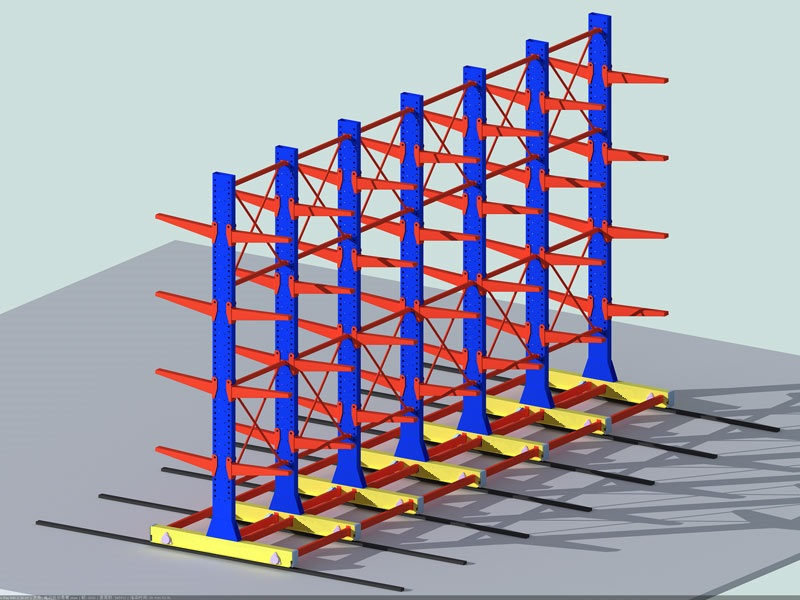 simulation picture of blue and red goods shelf