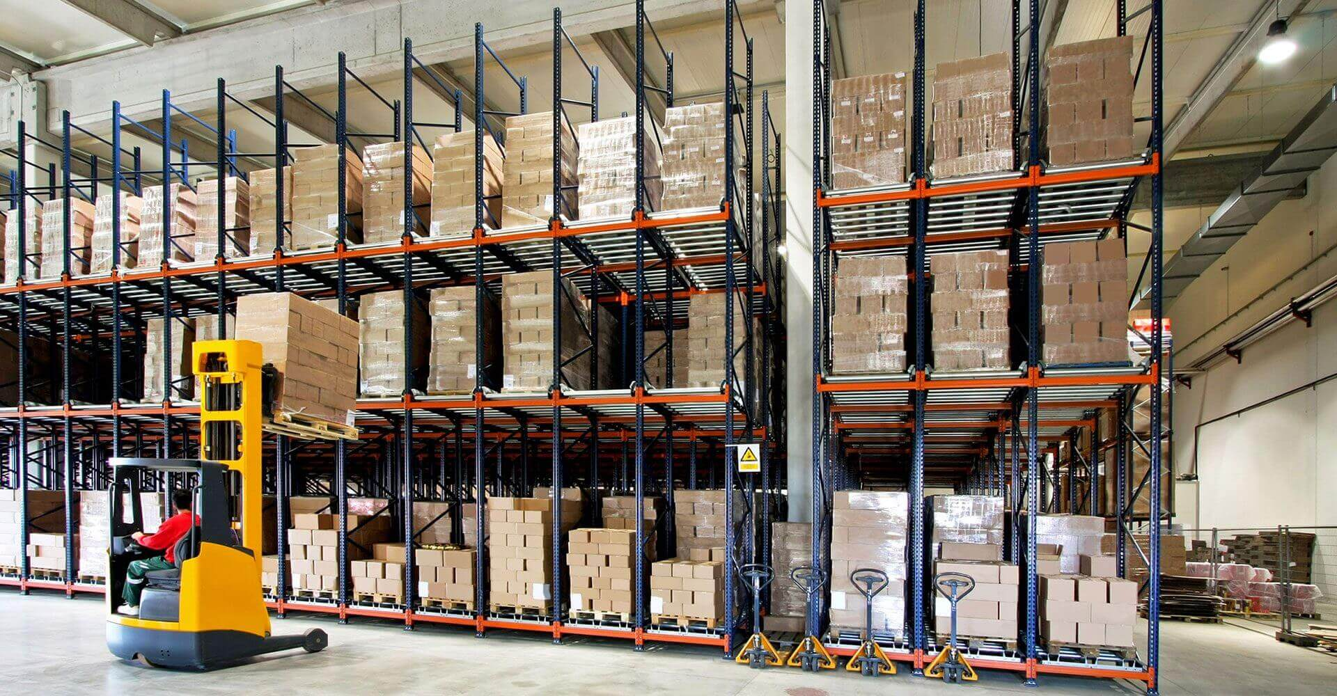 Three layer goods shelf with warehouse forklift