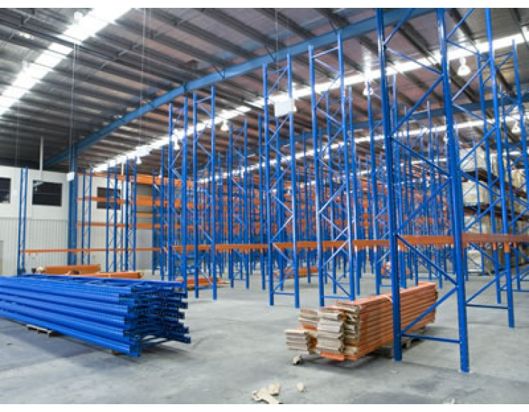 under construction warehouse with blue goods shelf flam