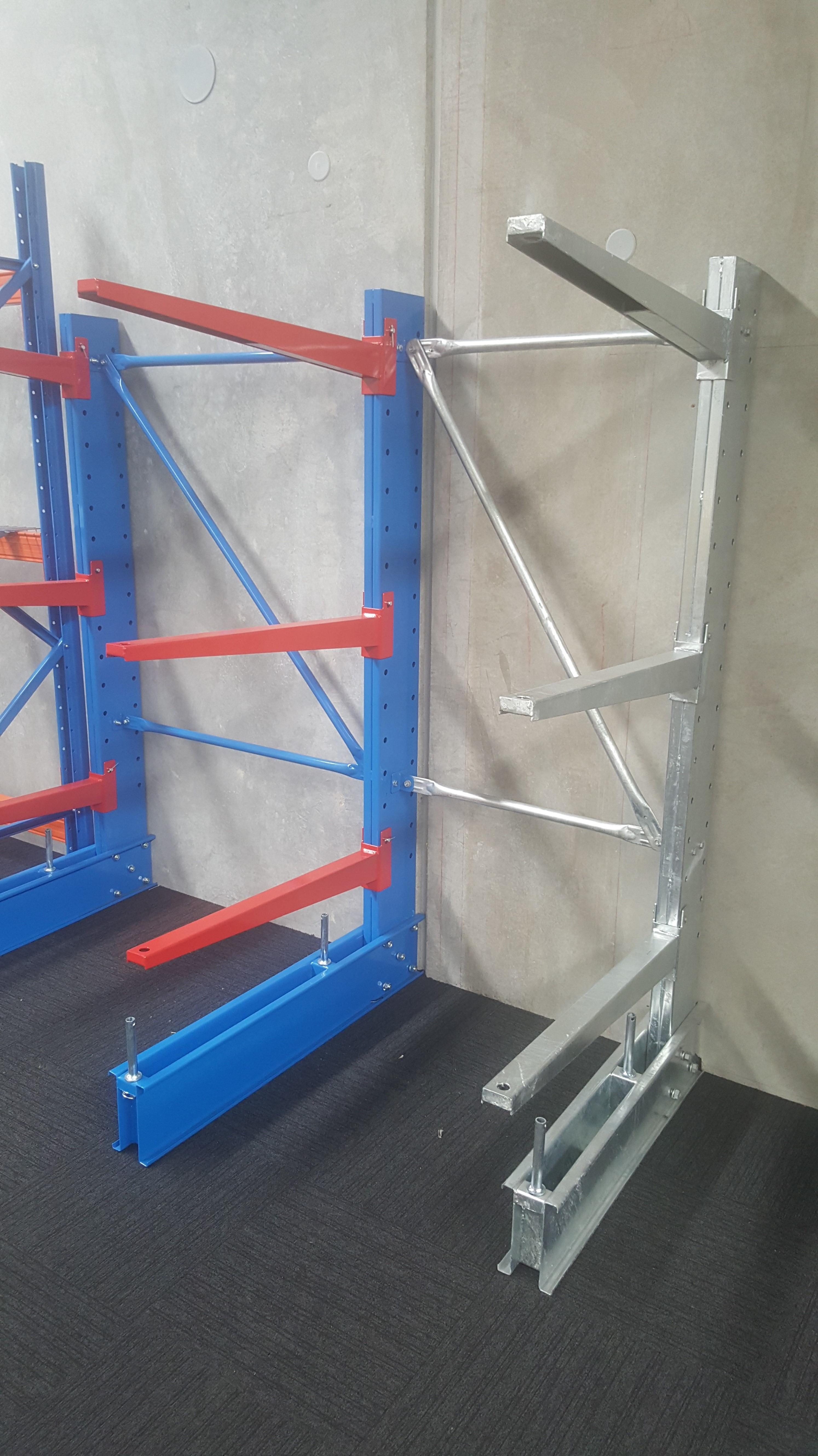 verticle goods shelf with blue and red and unpainted colour