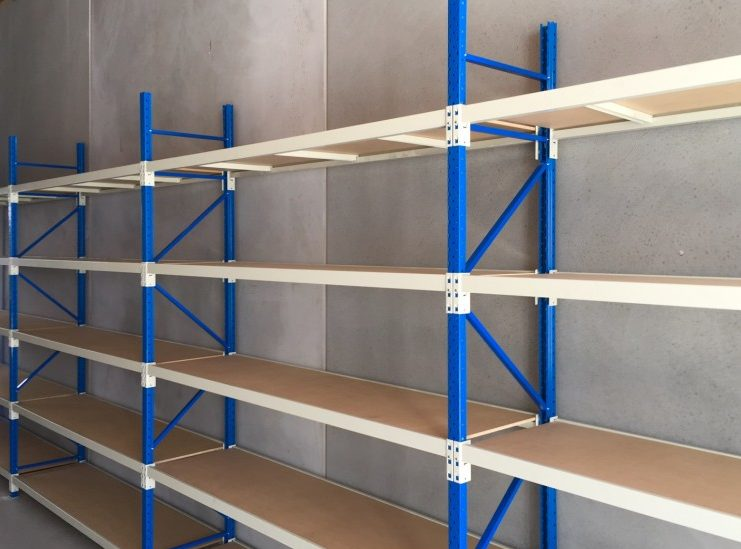 five layers blue frame with woodern plat goods shelf