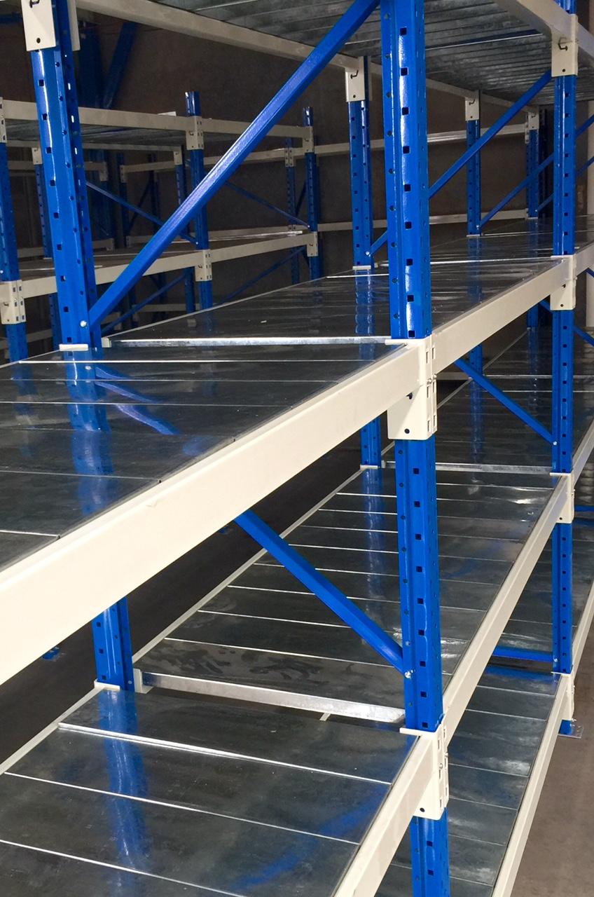 blue frame with silver plat goods shelf