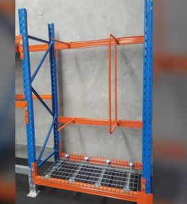 one verticle bule and orange goods shelf