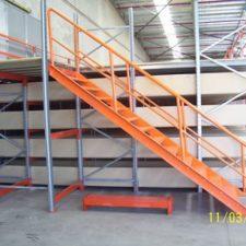 Orange stairs to upper goods shelf layer