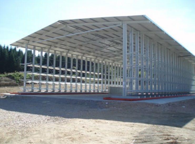 warehouse frame with steel pillar