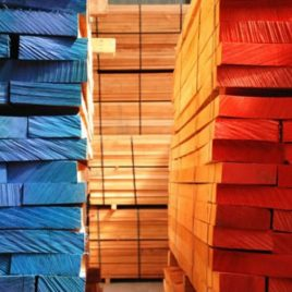 red and blue wood blocks with stock