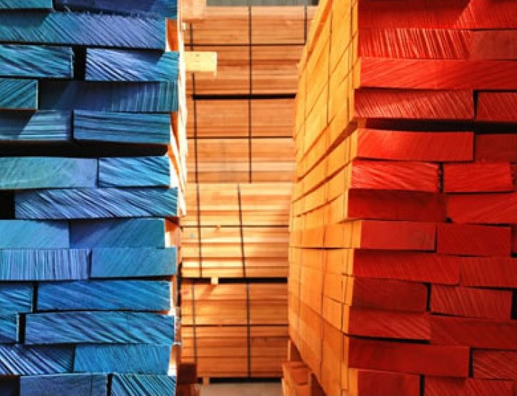 Packs of red and blue timber