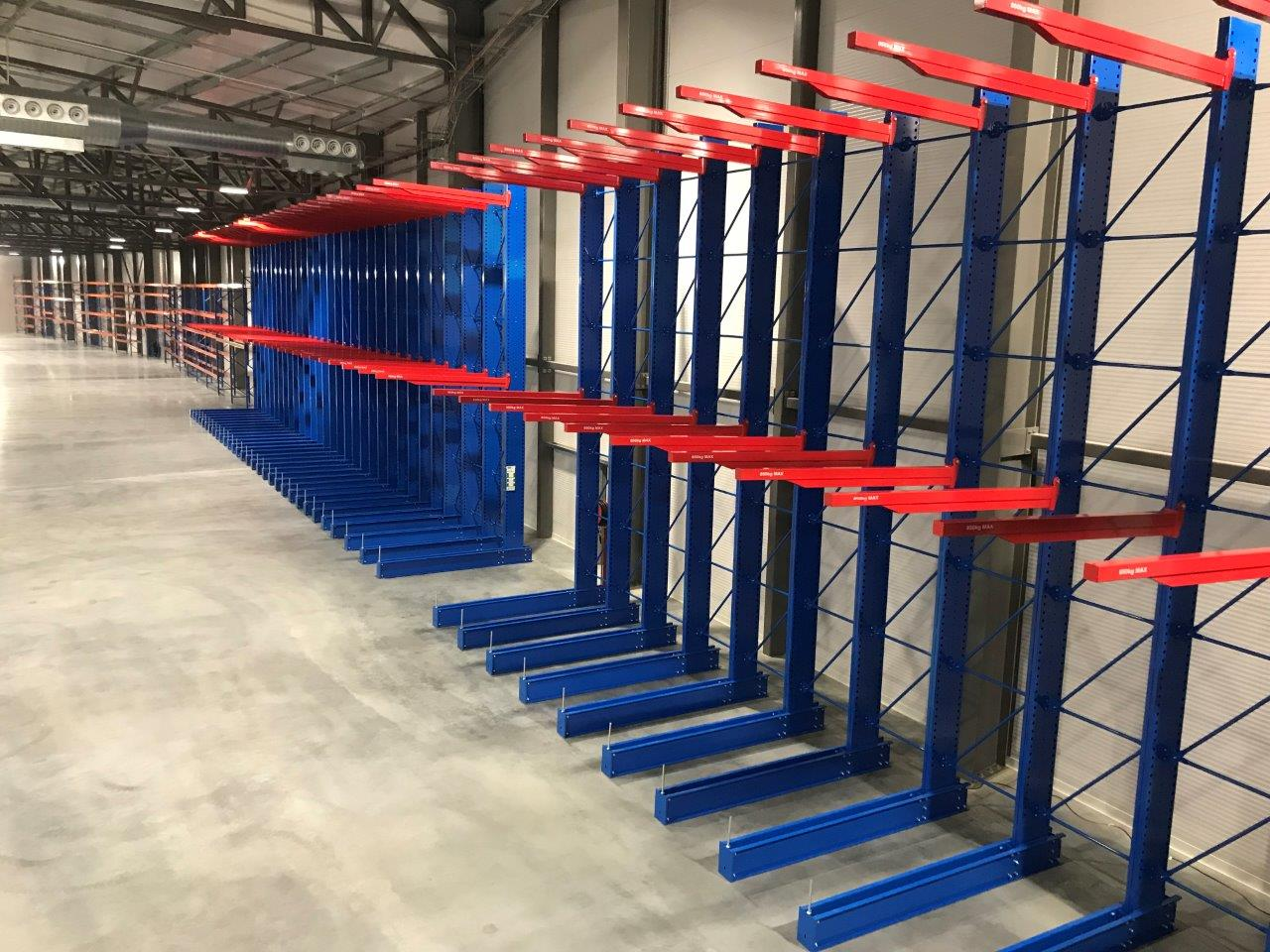 vertical goods shelf with blue and red