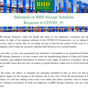 BHD Storage Solutions COVID_19 Statement