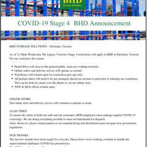 COVID 19 Stage 4  BHD  Announcement